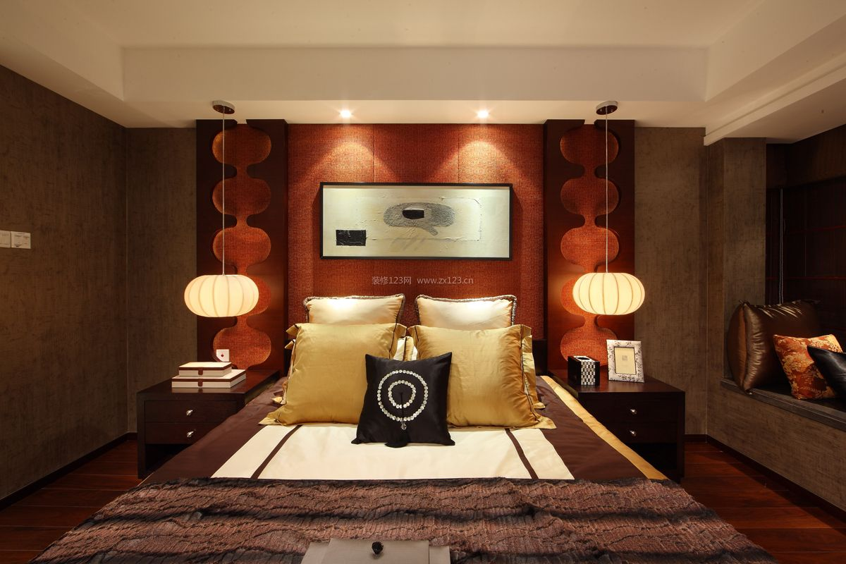 新中式卧室床头灯装修效果图