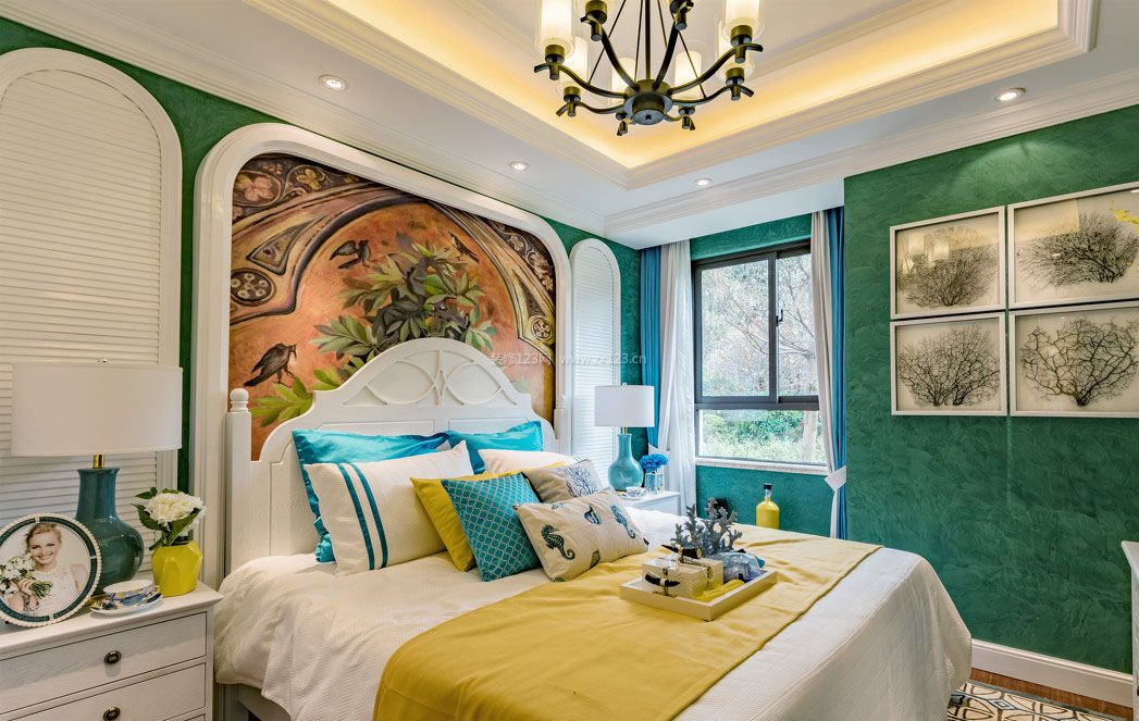 地中海卧室背景墙装修效果图