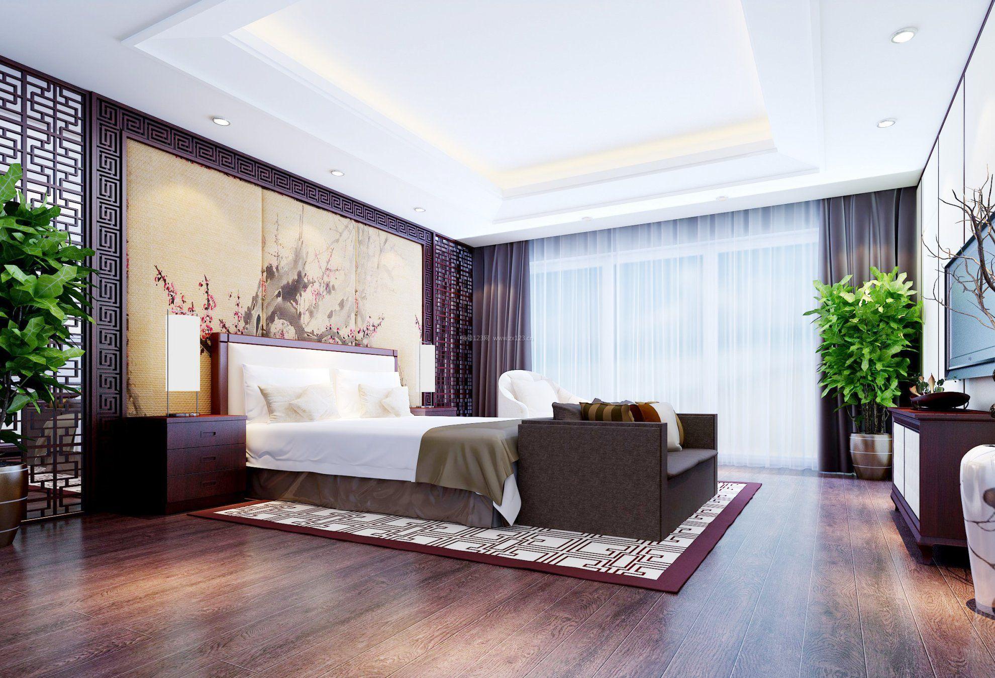 室内中式风格卧室效果图大全