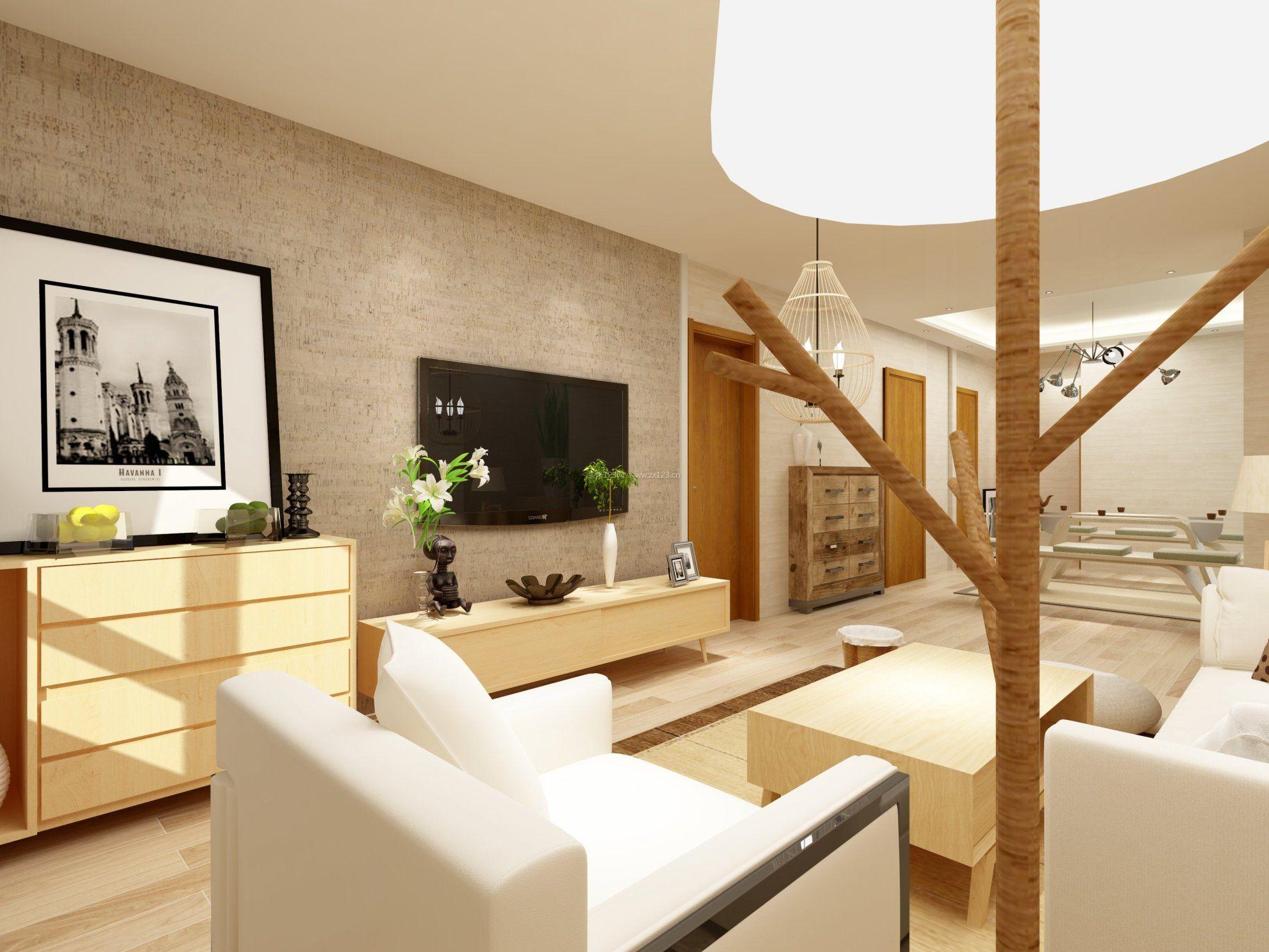 日本风格装修室内客厅电视墙效果图