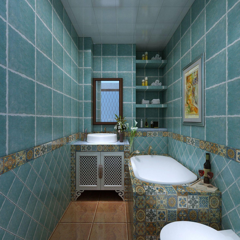 美式卫生间带浴缸装修效果图