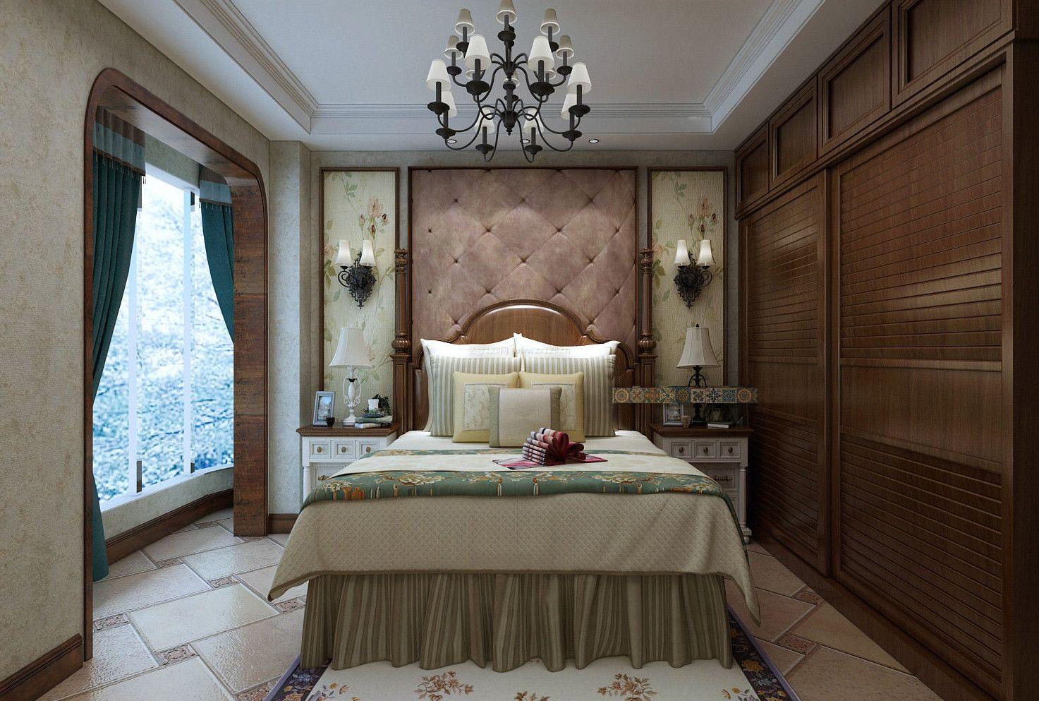 美式卧室床头软包背景墙装修效果大全2017图片