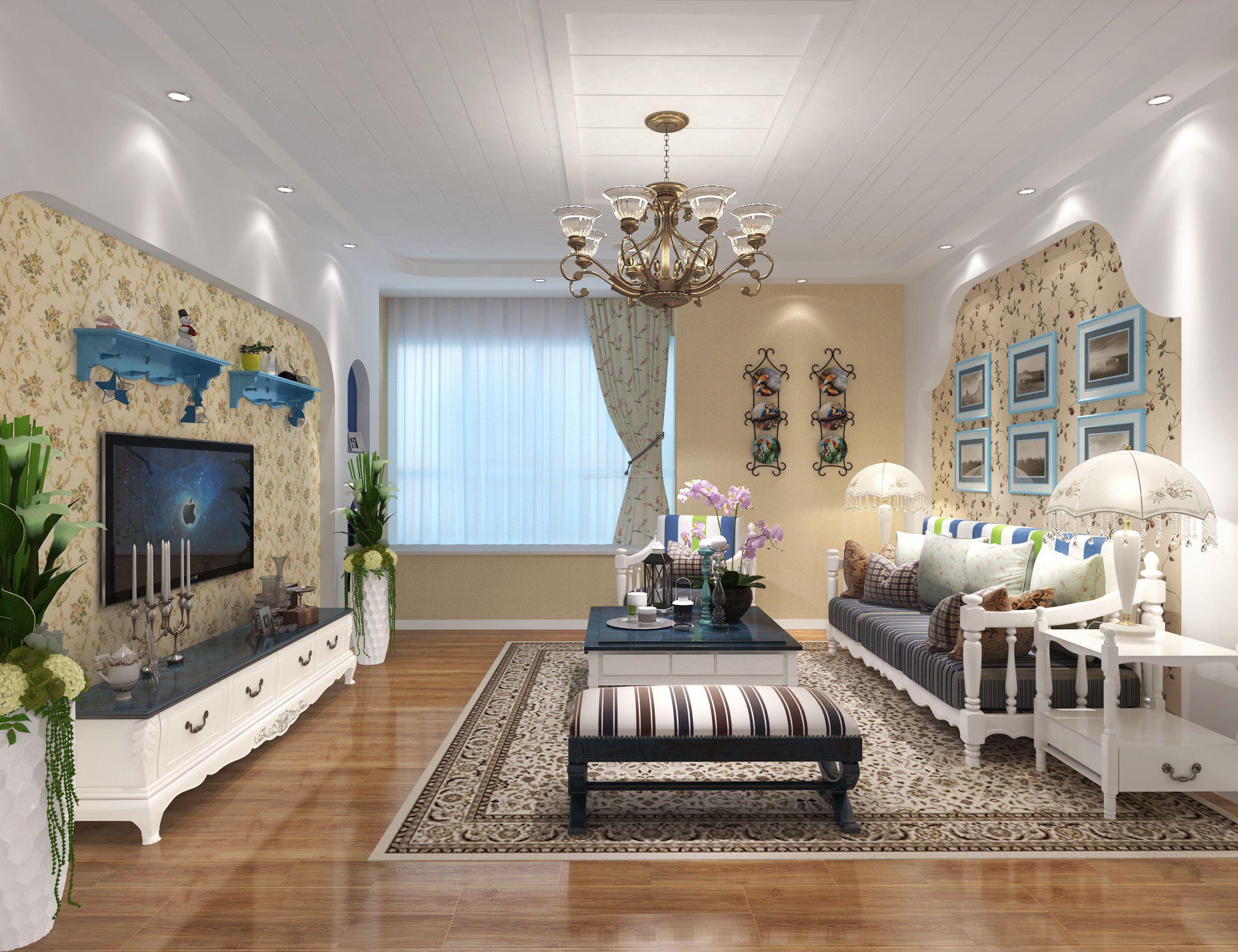 120平米房子地中海风格客厅装修效果图