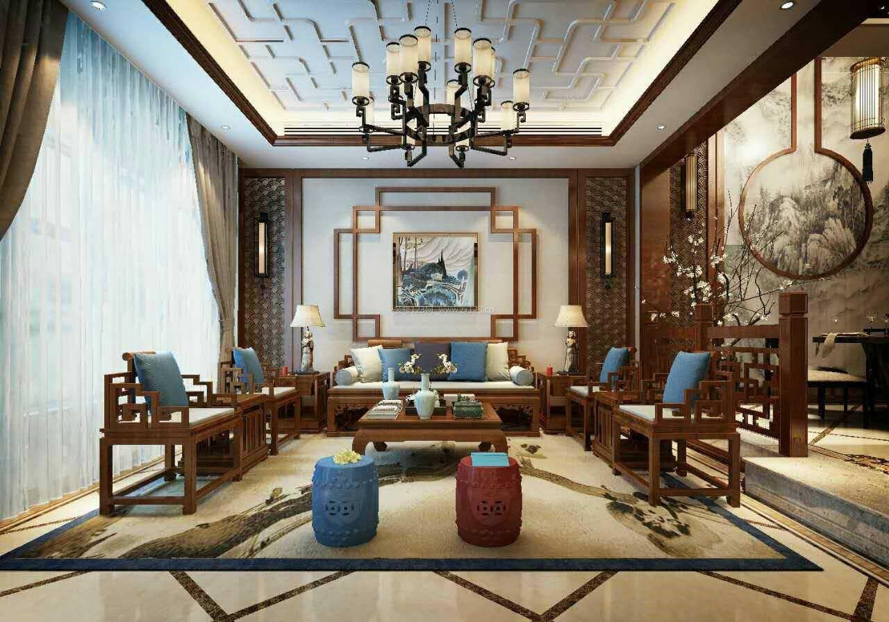2017年中式风格客厅沙发背景墙装修效果图片_装修123效果图