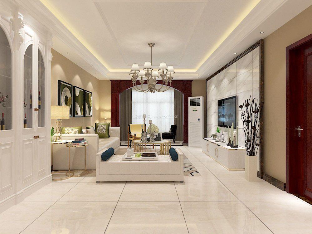 120平方新房客厅大理石电视背景墙装修效果图
