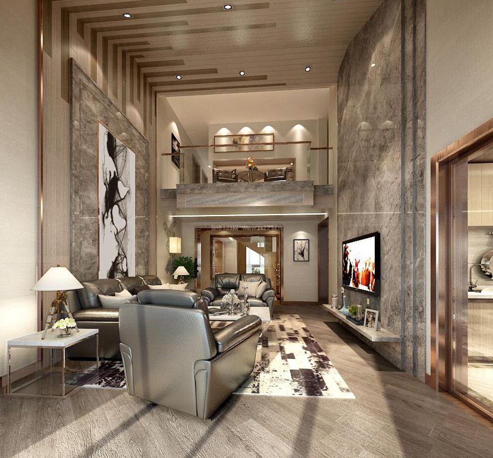 别墅港式客厅石材电视背景墙装修效果图