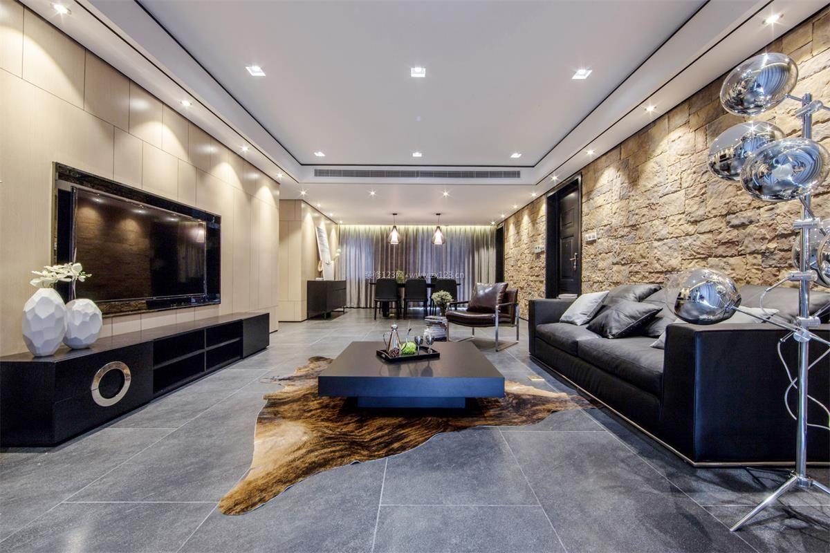 大户型客厅地板砖装修效果图_装修123效果图
