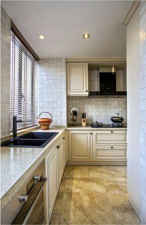 美式风格厨房装修效果图 大理石地板砖