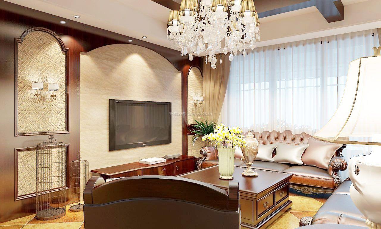 160平米欧式装修室内客厅电视墙设计_装修123效果图