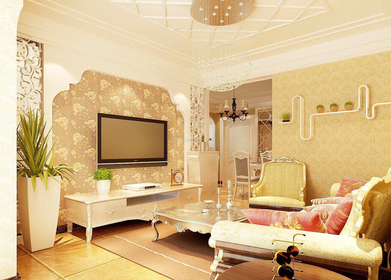 160平米欧式装修客厅电视墙装饰效果图图片