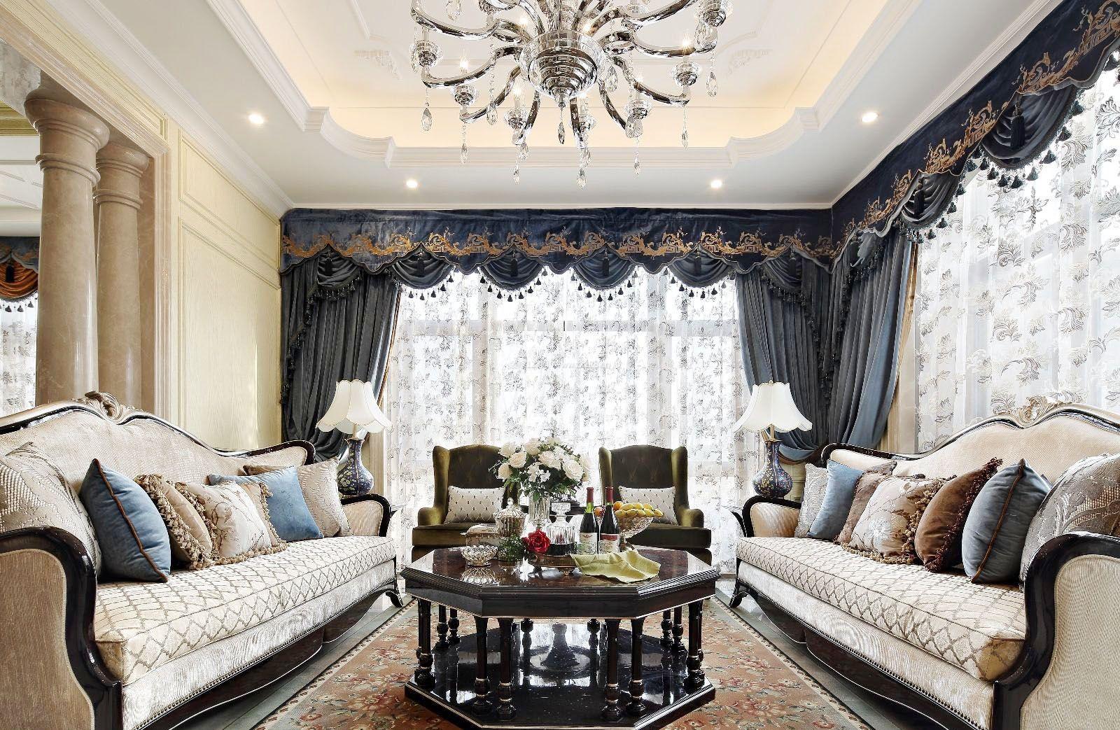大户型样板房欧式窗帘装修效果图片