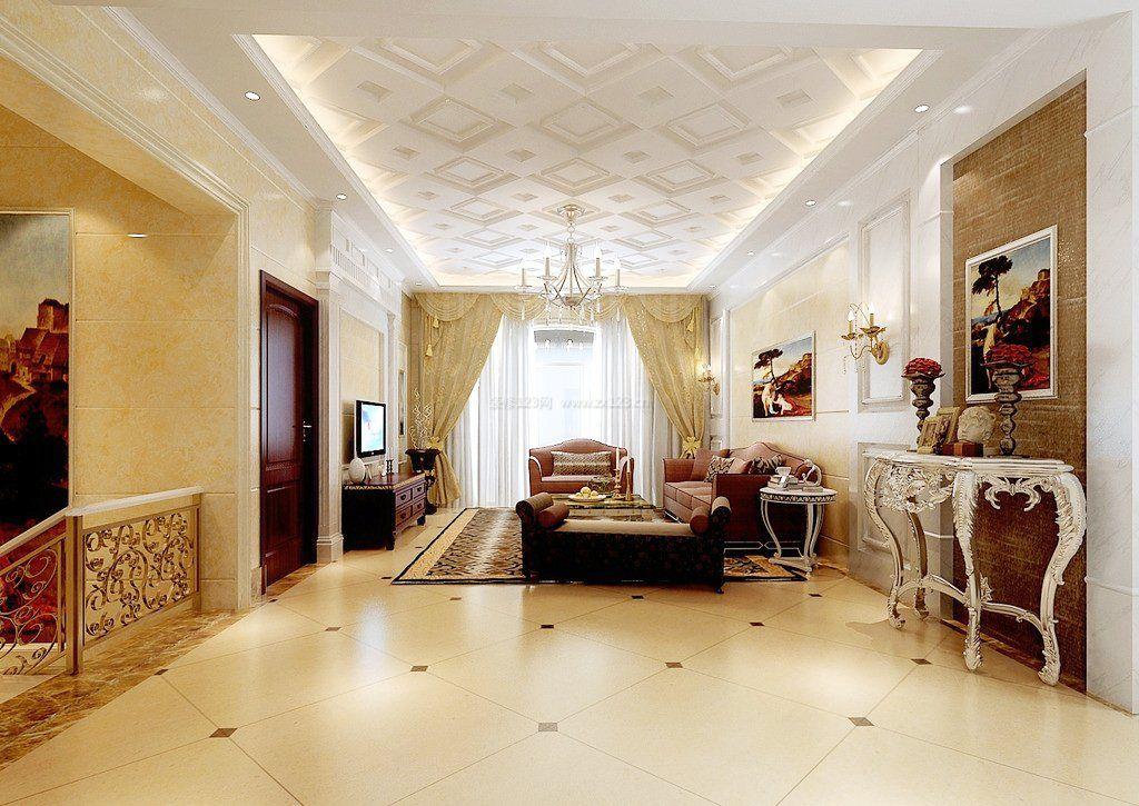 家装简欧客厅吊顶造型装修效果图