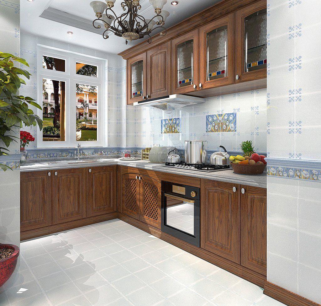 家装厨房实木橱柜装修效果图2017图片