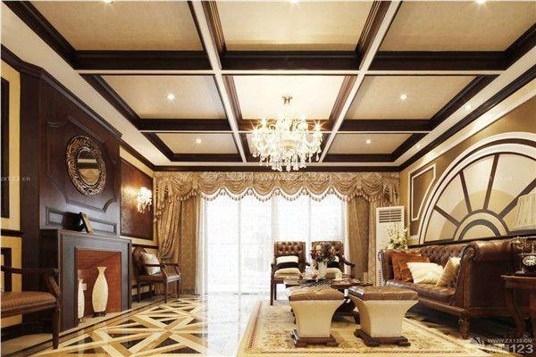 美式风格客厅横梁装修设计图片