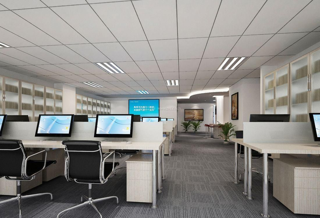 现代办公室大厅集成吊顶装修效果图