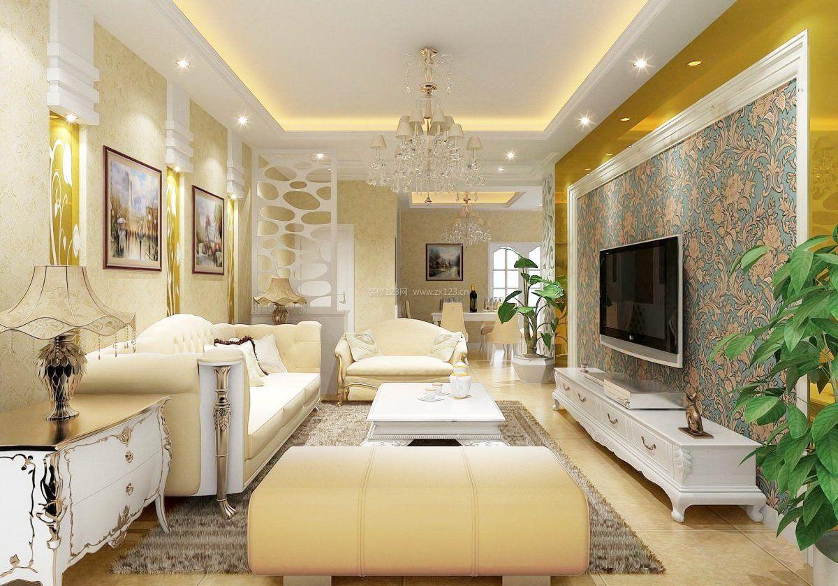 室内电视墙装饰装修效果图大全简欧