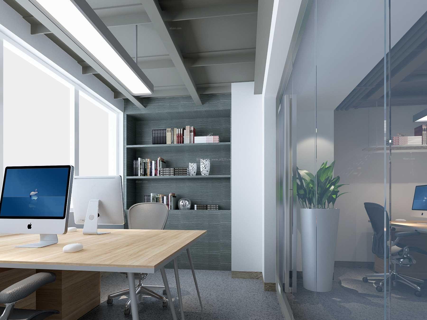 经典现代办公室玻璃隔断装修效果图