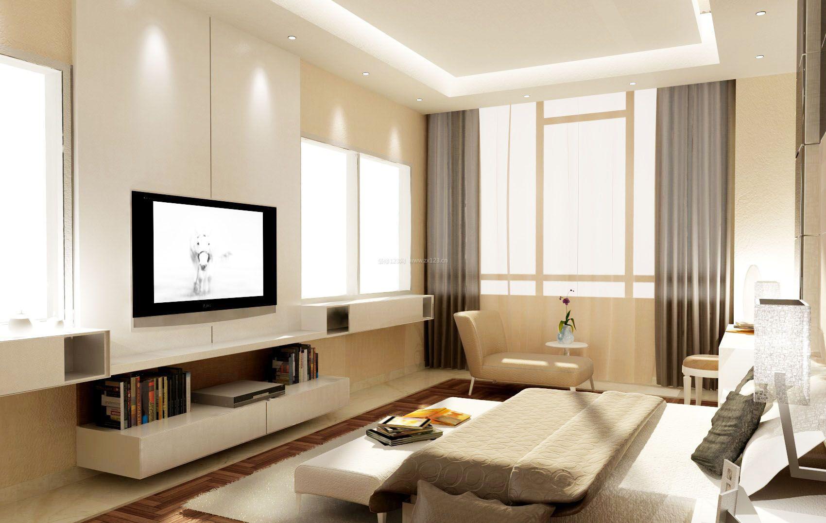 简约电视背景墙装饰柜设计效果图