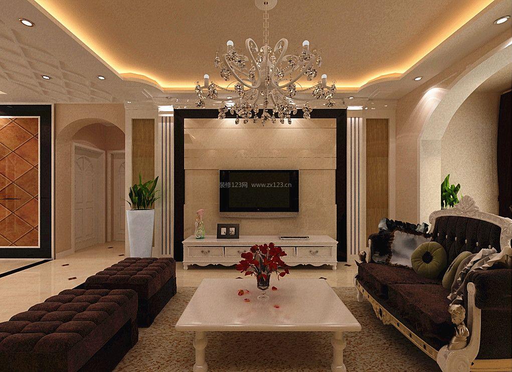 简约欧式家装效果图 室内客厅电视墙设计
