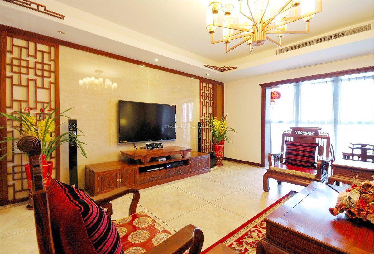 别墅新中式风格电视墙装修效果图