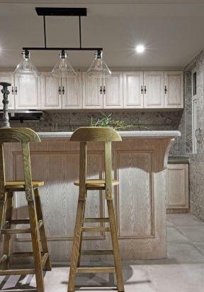美式家装风格效果图 开放式厨房吧台设计图片