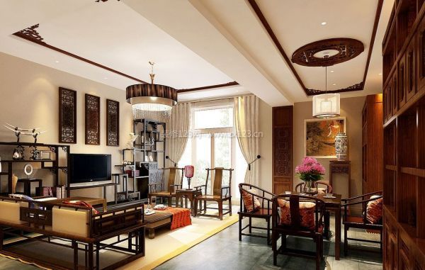 重庆新房装修,大户型设计推荐案例风格之一,新中式装修风格,内具端庄图片