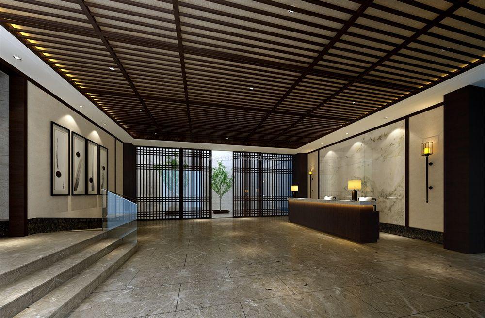 新中式酒店前台装修效果图片