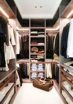 卧室简易衣帽间衣柜内部格局设计图片