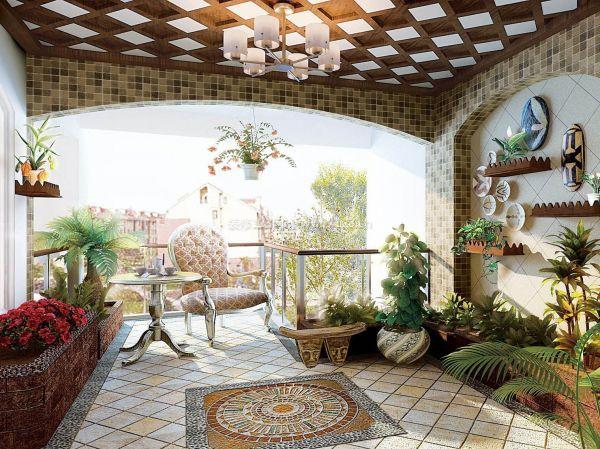 阳光房阳台盆栽效果图图片