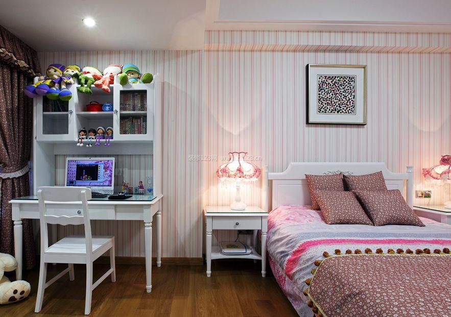 简单女孩房间条纹壁纸装修效果图片大全