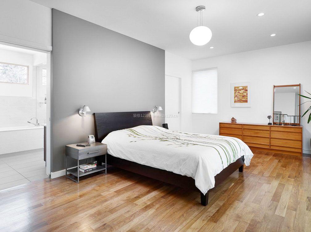 时尚卧室灰白色墙面装修设计效果图