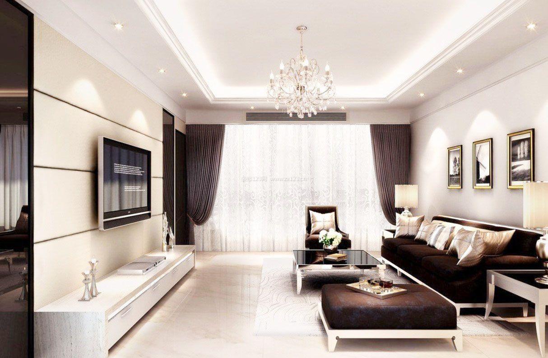 现代简约时尚客厅灰白色墙面装修效果图