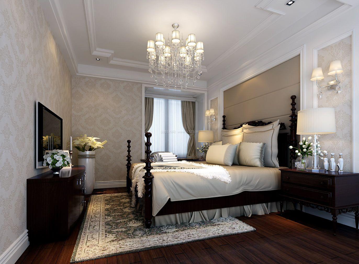 美式主卧室墙纸背景墙装修效果图