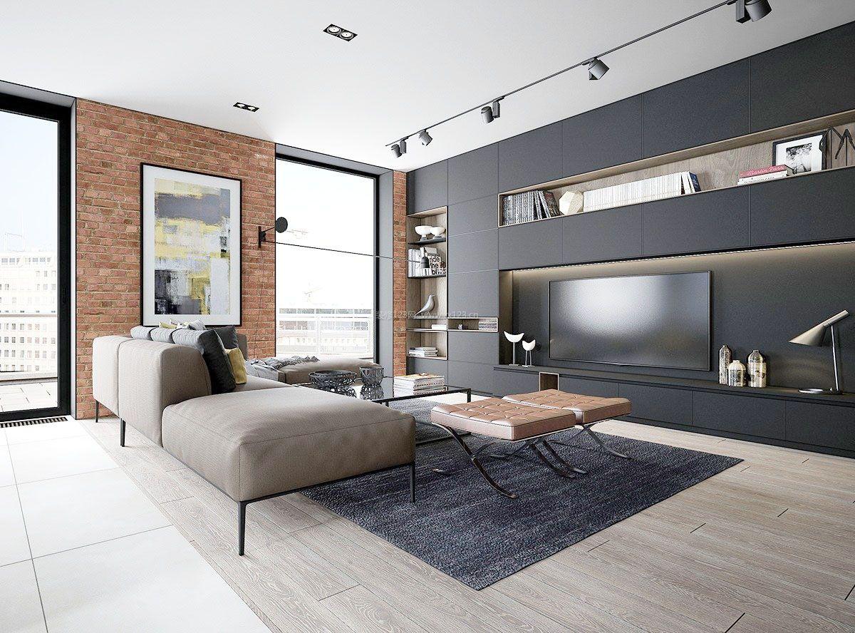 时尚简欧客厅灰白色墙面装修效果图