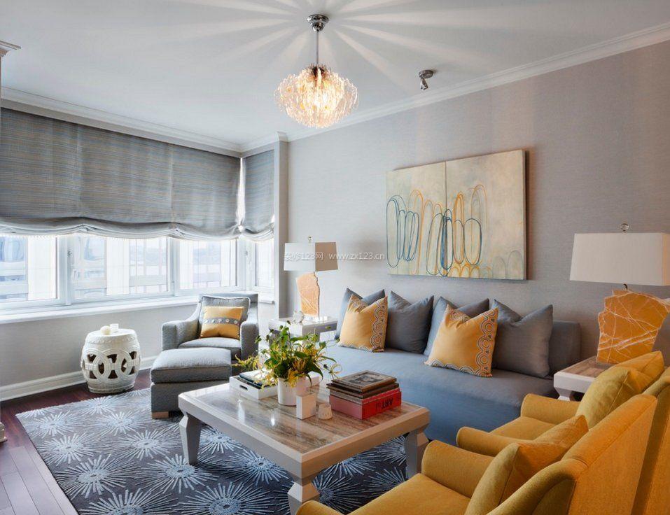 客厅装修样板房灰白色墙面效果图