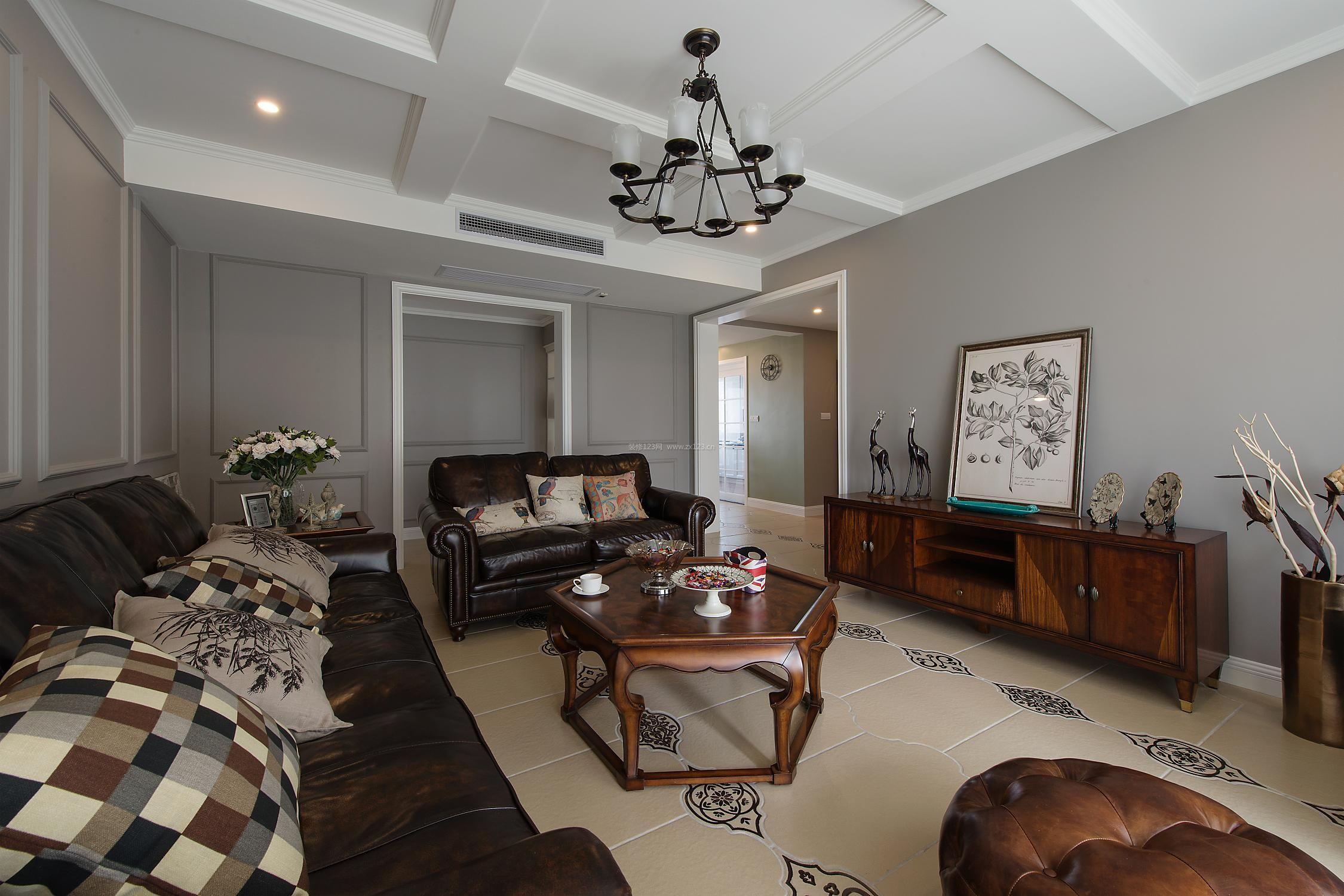简约美式客厅木龙骨石膏板吊顶装修效果图