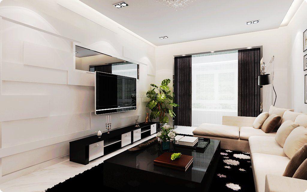 现代新房客厅石膏板电视背景墙装修效果图