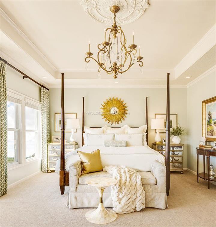 长方形的美式简约卧室床摆放装修效果图图片