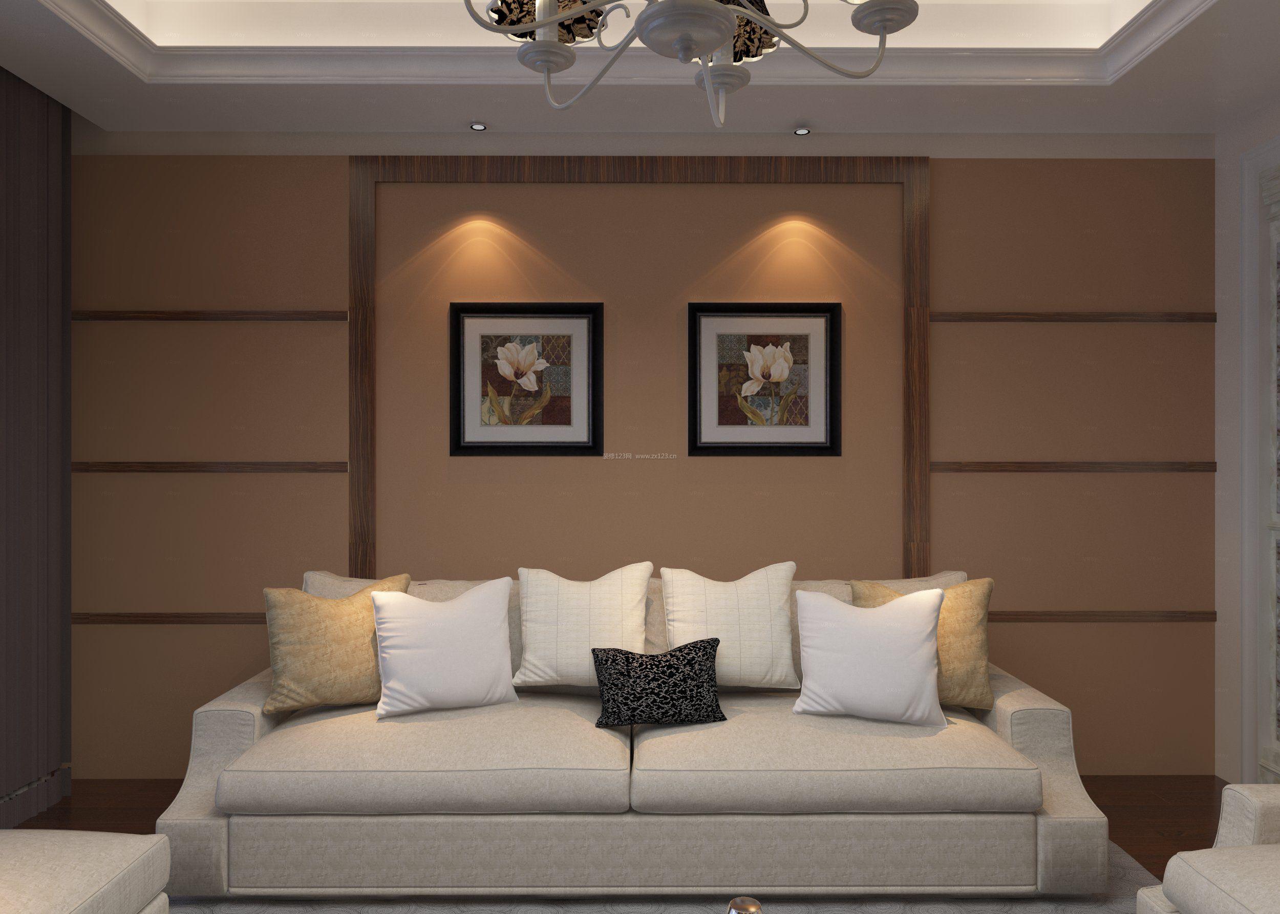 2017新房现代中式客厅背景墙装修效果图图片