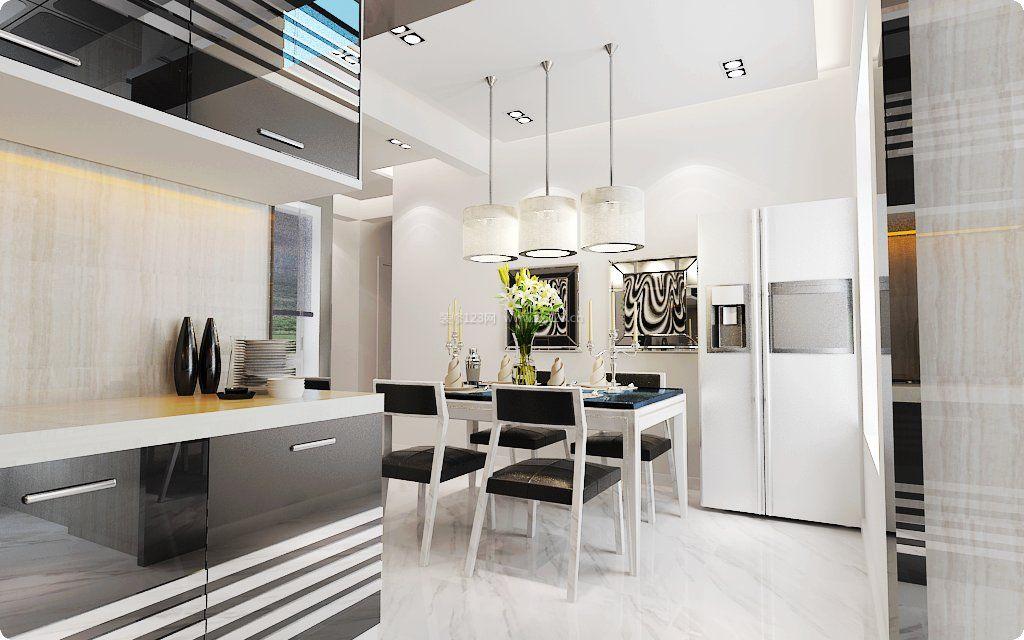 2017简约现代家装开放式厨房餐厅装修效果图片图片