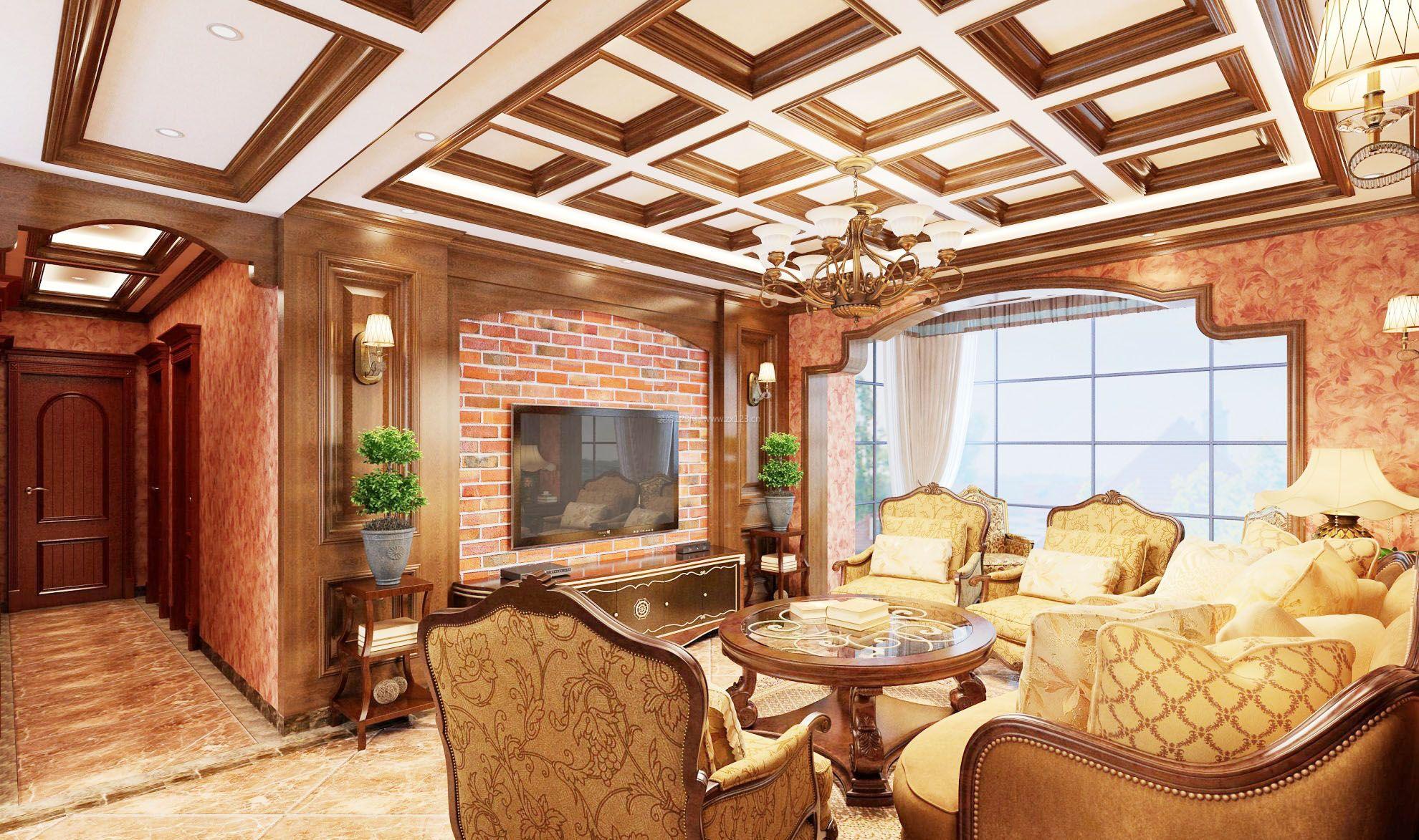 美式家装最流行影视墙效果图_装修123效果图
