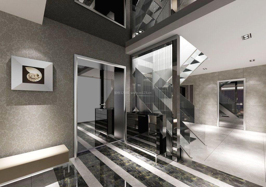 2017简约别墅客厅进门鞋柜装修设计效果图纸