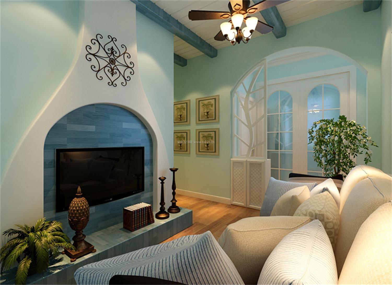 地中海风格客厅 电视背景墙造型设计