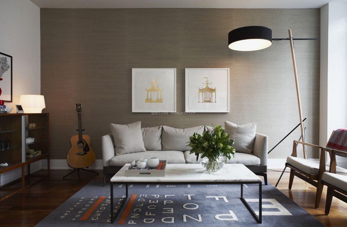 北欧客厅满铺壁纸装修效果图