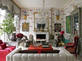 客廳滿鋪壁紙效果圖 復古碎花壁紙圖片