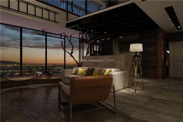 现代家居客厅装修落地窗夜景
