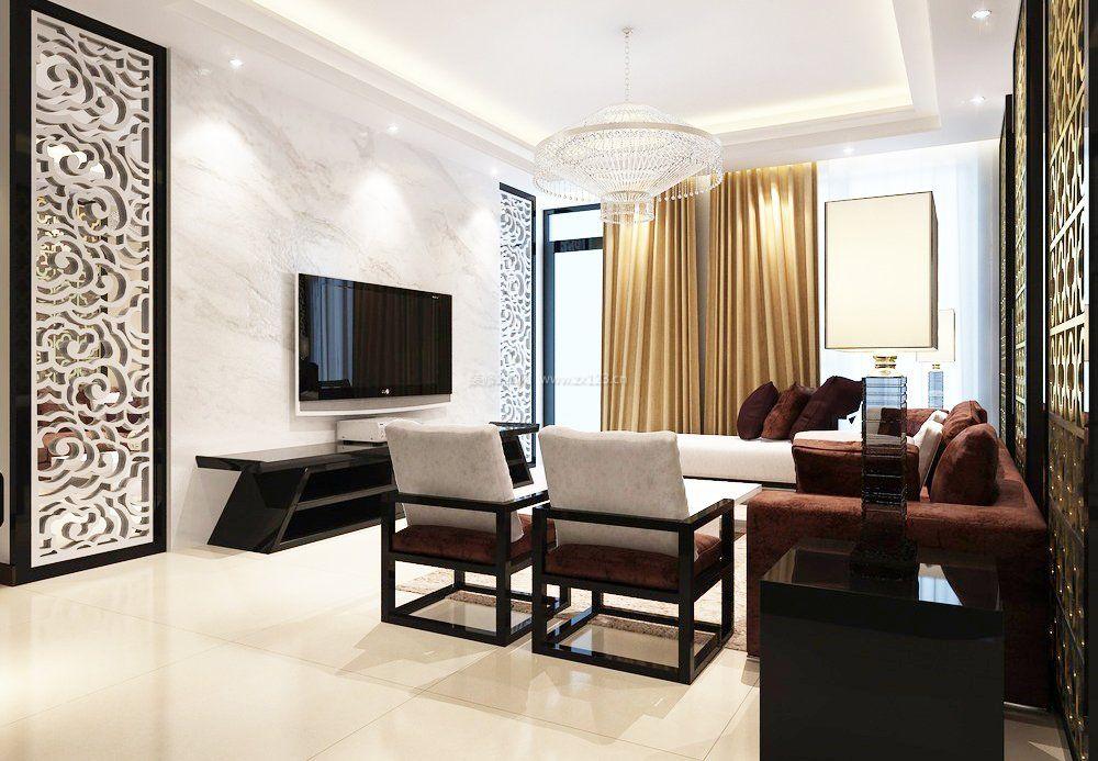 大方质感现代简约客厅大理石电视墙装修效果图
