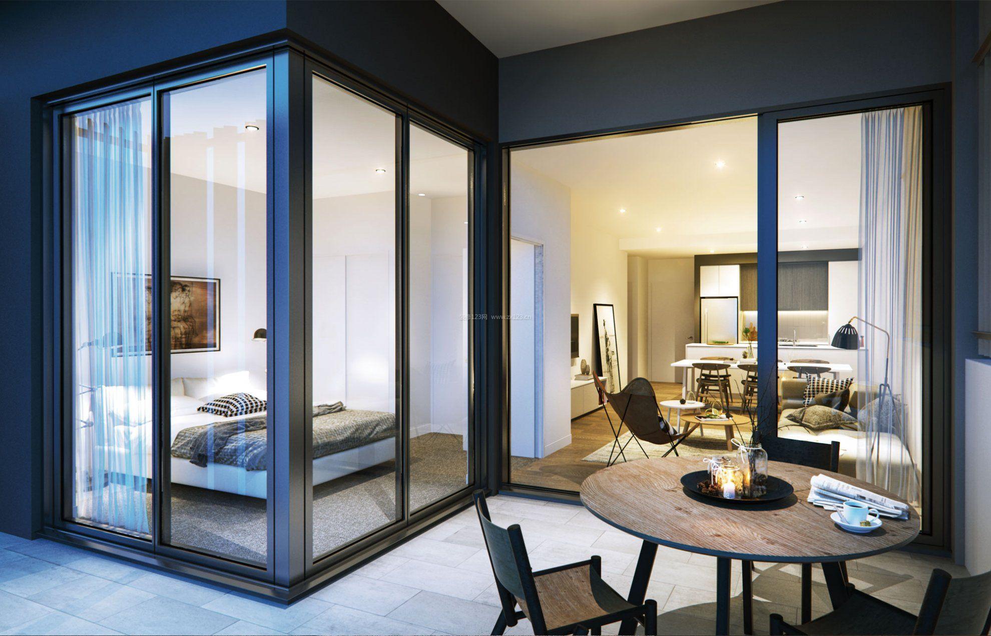 2017主卧室室内玻璃房家装效果图_装修123效果图