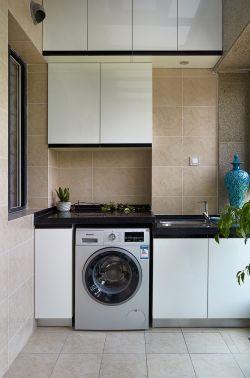 沉稳现代阳台洗衣机装修效果图