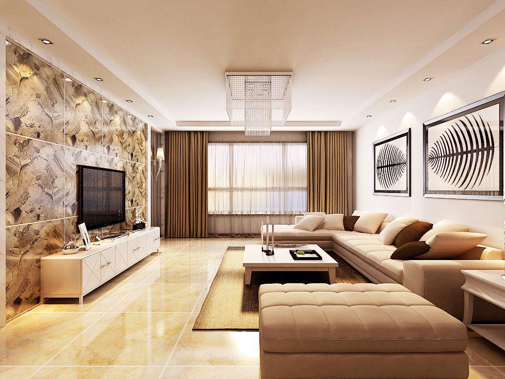 120平米大客厅电视墙最简单装修效果图
